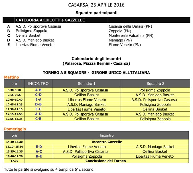 Programma Torneo Mb SDV 2016