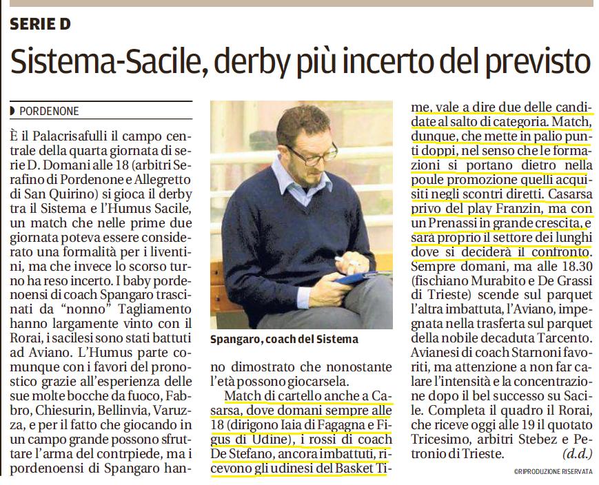 Tratto dal Messaggero Veneto del 29-10-2016